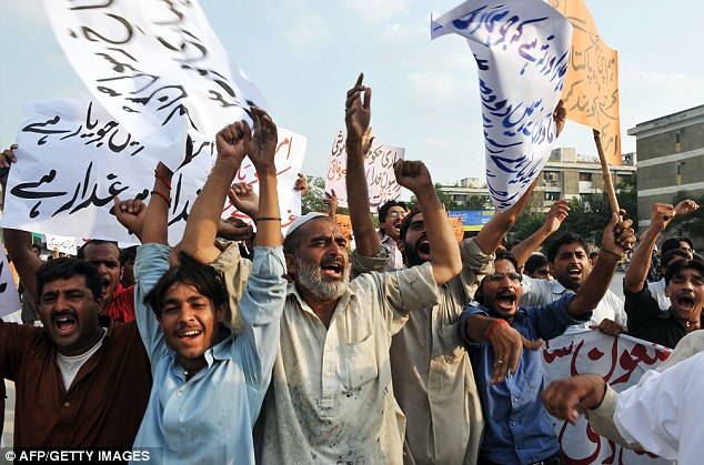Spreading fury: Pakistani Muslims shout anti-U.S. slogans during a protest rally against an anti-Islam movie in Islamabad on September