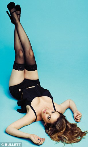 Lovely lingerie: She wears stockings for much of the shoot