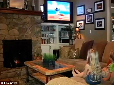Georgie Brown's two-year-old son, three-year-old daughter, pictured, and five-year-old son were watching a Lilo and Stitch cartoon at home when it cut to an adult movie