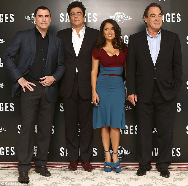 Savages: (L-R) John Travolta, Benicio Del Toro, Salma Hayek and Oliver Stone