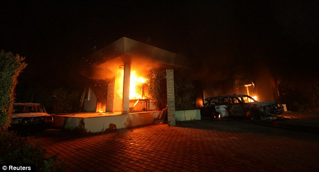 Deadly: Four people died, including US Ambassador Christopher Stevens, during an assault on the US Consulate in Benghazi, Libya