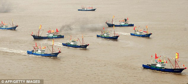 Provocative: Chinese fishing boats set off to fish near the disputed islands, known in Chinese as Diaoyu