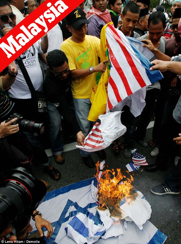 Allied targets: In Malaysia, Israel and the U.S. were both at the center of the protest