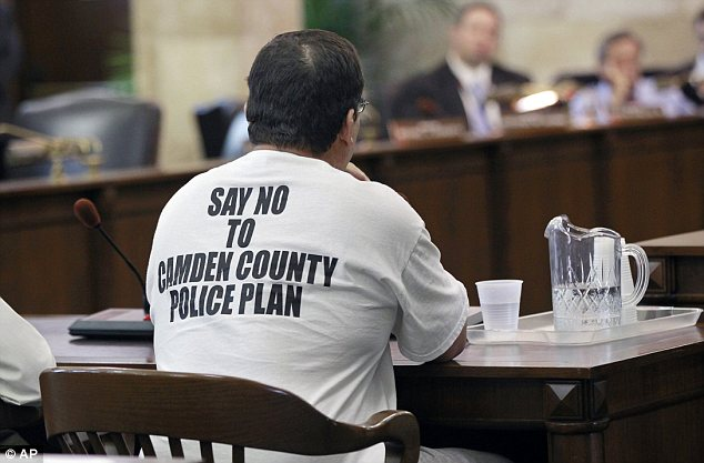 Fight: A supporter of the Camden Police Department speaks during a hearing before the New Jersey Senate Judiciary Committee, in Trenton