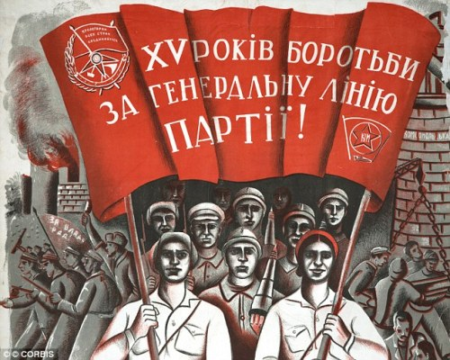 'Educational': The school argued it was simply giving a history lesson and wanted the audience to hear the music. A Soviet propaganda poster celebrates the 15th anniversary of the 1917 Revolution