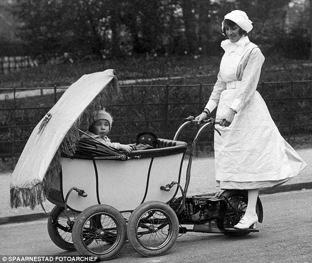 The Dunkley Pramotor allowed mother's and nannies to effortlessly take baby on a trip around town without getting warn out
