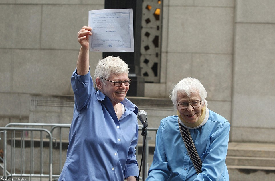 Happy day: Connie Kopelov, 84, right, and Phyllis Siegel, 76, married in New York in 2011 after a historic legislation allowed gay couples to legally wed in New York State