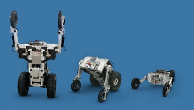 Prototype robots being tested by the group can change from two wheels to four, depending on the terrain.