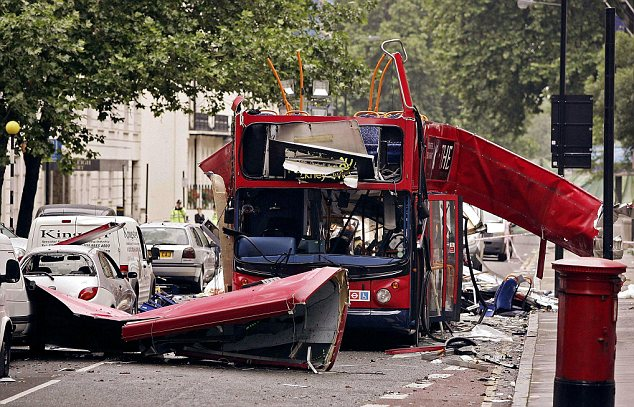Carnage: Thirteen people were killed when a bomb detonated on board the Number 30 bus in Tavistock Square