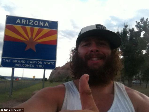 Thumbs up: Nick Kleckner gets to Arizona, but there's still a long way to go...