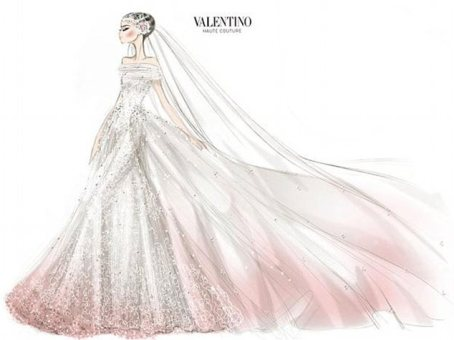 Blushing bride: Valentino has released a sketch of the couture wedding gown it created for Anne Hathaway