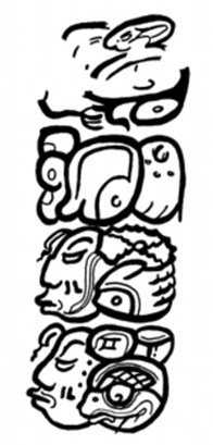 A drawing of the glyphs on the back of the vessel which researchers say is the name of Queen K'Abel