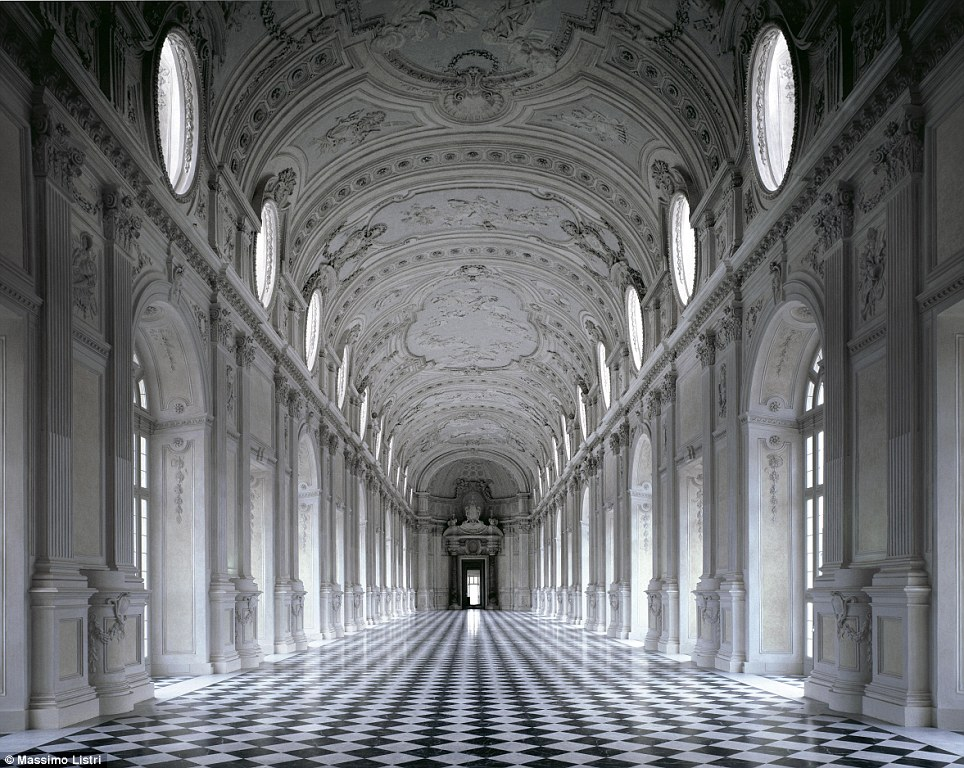 Other-worldly: The Gallery Grande is part of the Palace of Venaria, located in Turin, Italy, built in the later part of the 17th century; the stark contrast and diffused light gives it a ghostly glow