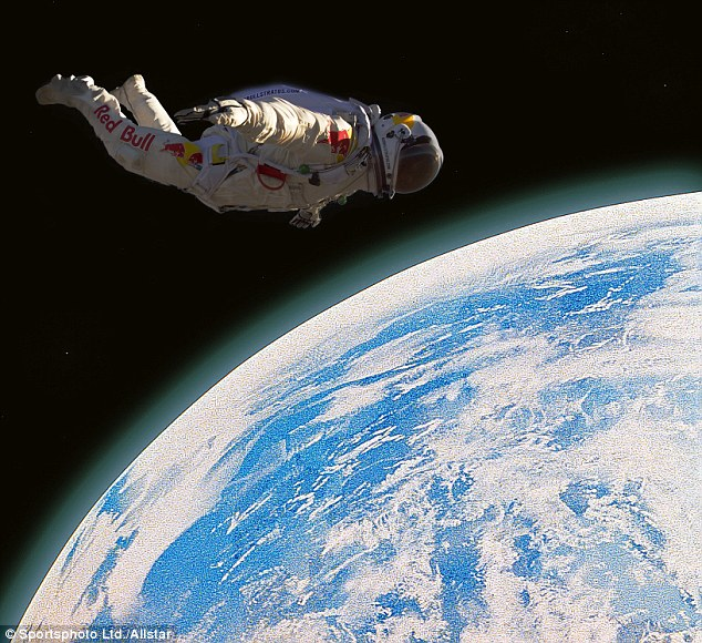 Fearless: Felix, pictured here on a previous dive in July, plans to jump from the edge of the earth's atmosphere on Tuesday