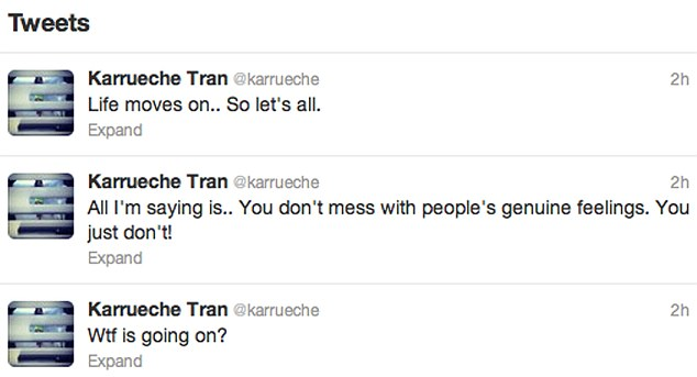 Not impressed: Karrueche took to her Twitter page after the video was released