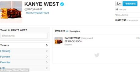 'BE BACK SOON': Juts one telling tweet remains on the rapper's page, which notably no longer has a background