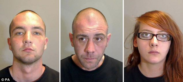 Killers, from left: Ricky Roys, 20, Andrew Brown, 42, and Helen Cooke, 19. Roys told a witness the murder was 'like something out of Resident Evil'