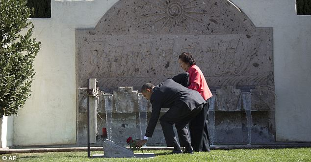 Barack Obama, accompanied by Cesar Chavez' widow, Helen F. Chavez, places a special