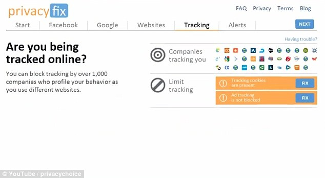 You are being watched: Privacyfix also promises to block tracking by over 1,000 other sites