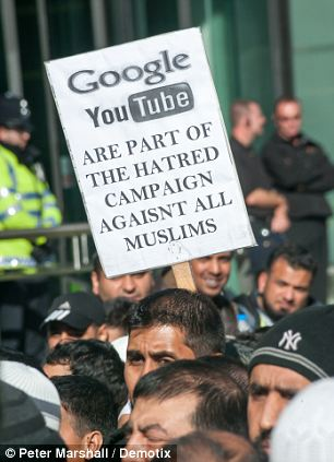 no freedom of expression in islam. anti youtube and google placards Muslim Action Forum protest at Google against video 'Innocence of Muslims' on YouTube.