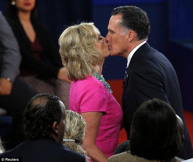 Mitt & Anne Romney kiss after the debate