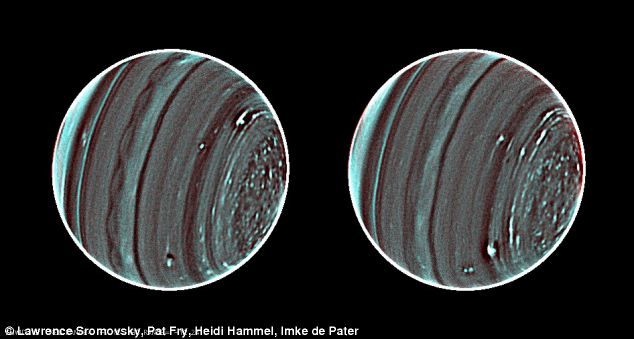 The sharpest, most detailed picture of Uranus. The north pole of Uranus (to the right in the picture) is characterized by a swarm of storm-like features