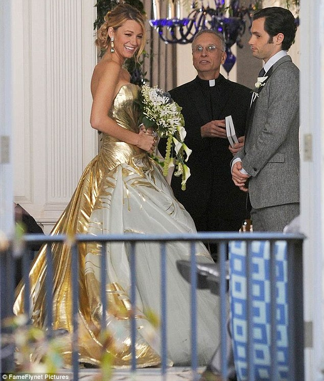 Blake Lively wedding dress: Actress wears gold gown to