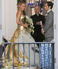 Blake Lively wedding dress: Actress wears gold gown to ...