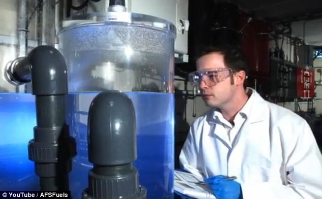 An engineer checks on equipment at the Air Fuel Synthesis premises in Stockton-on-Tees: The company claims to have achieved a world first by producing petrol by reacting together carbon dioxide and water vapour