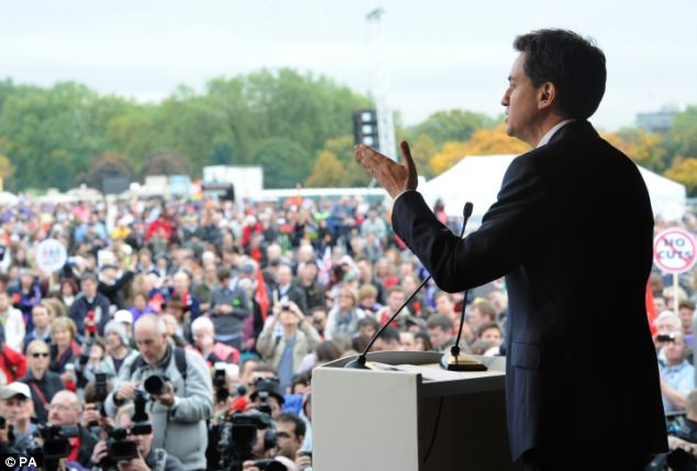 Labour leader Ed Miliband speaks on stage at Hyde Park, during the TUC organised protest against austerity measures in London