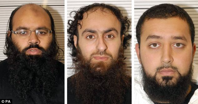 EVIL MUSLIM WANNABE JIHADISTS FROMK BIRMINGHAM From left to right, Irfan Naseer, 31, Irfan Khalid and Ashik Ali, both 27, who are accused of being 'central figures' in the extremist plot to cause mass deaths and casualties