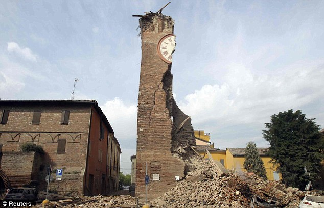 the old tower of Finale Emilia was nearly totally destroyed by the quake - and a later aftershock then destroyed the building