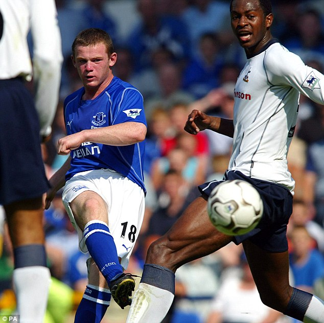 Wayne Rooney, ancora sedicenne, durante la sua partita d'esordio contro il Tottenham a Goodison Park, foto: PA