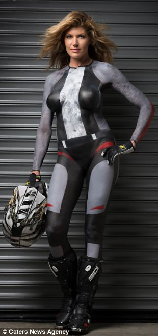 Erin Bates painted in the dirt bike outfit