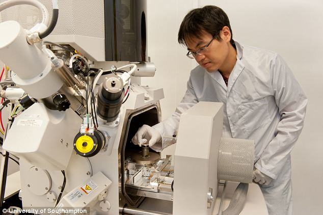 Hi-tech: A researcher uses one of the nano-fabrication machines used in the process