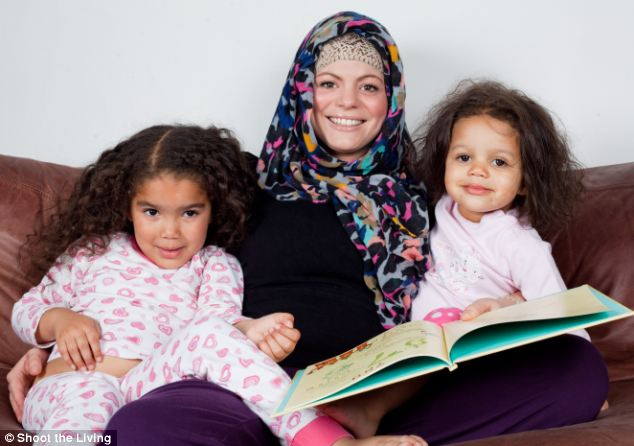 New faith: Heather Matthews, with daughters Ellah, 5, and Halle, 2, converted to Islam four weeks ago