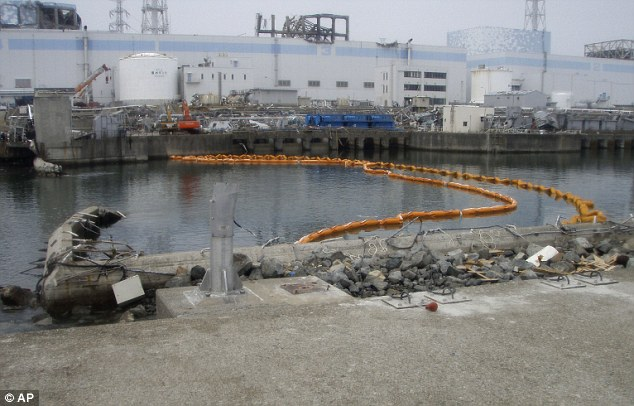 Emergency measure: A floating 'silt fence' that was installed under water to help prevent contaminated water from spreading outside the nuclear plant