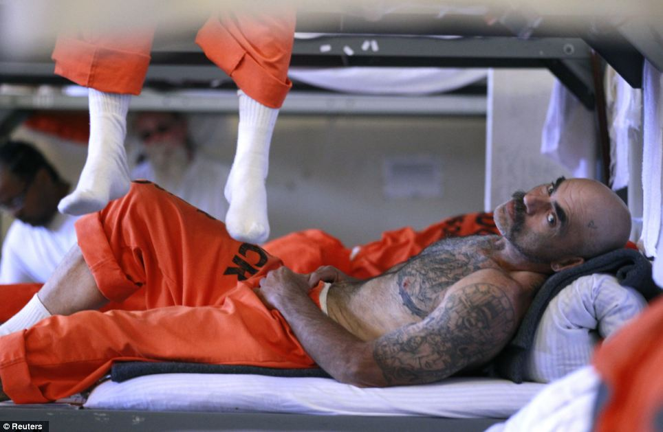 Inmates are literally living on top of each other as this picture shows, but it could get worse as US prisons are expected to swell to 41 per cent above maximum levels by 2018