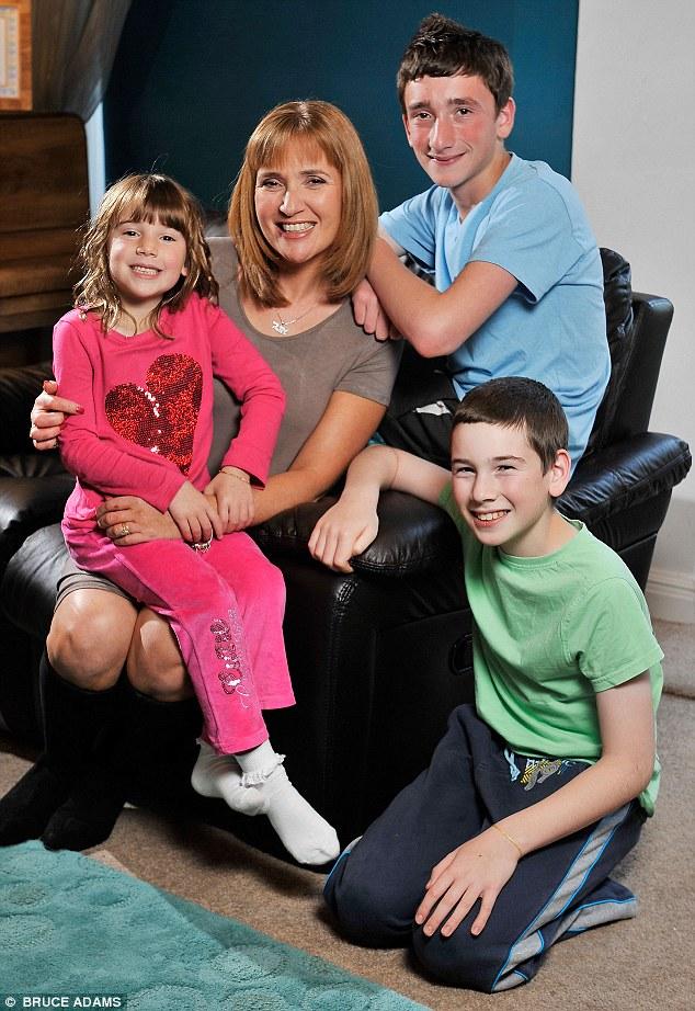 Writer Angela Epstein with three of her four children