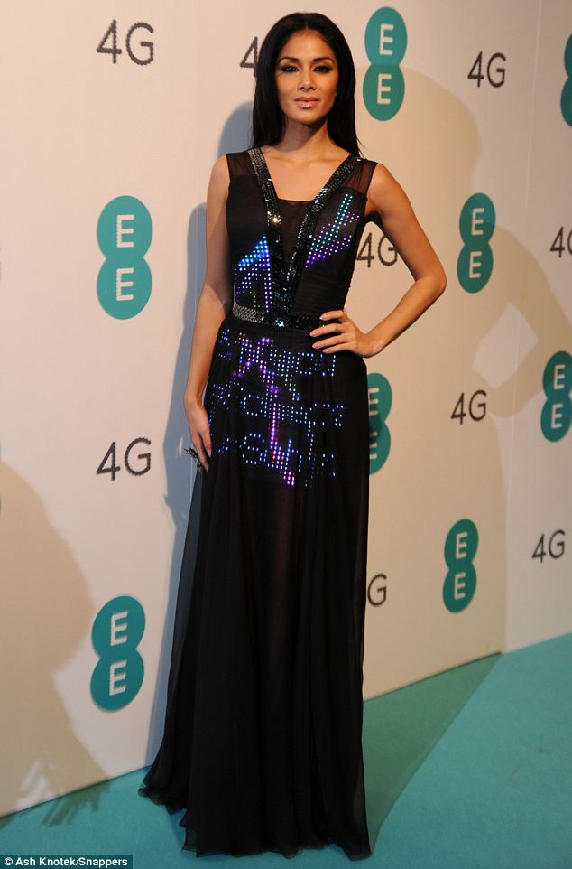 Tweet me: Nicole Scherzinger wore a dress that lit up with Tweets at the launch of 4G mobile network