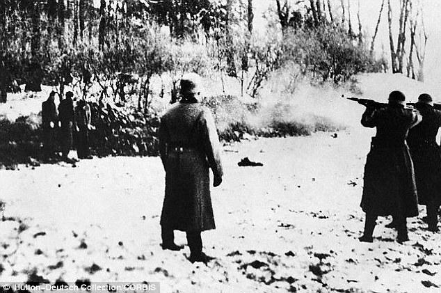 Brutality: A Nazi firing squad guns down prisoners in Poland in 1941