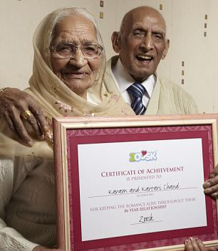 Karam and Katari Chand received a certificate of achievement from dating site Zoosk