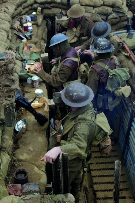 Re-enactment: Mr Robertshaw and volunteers donned replica uniforms and spent 24 hours living in the trench