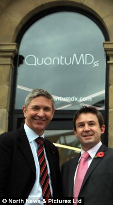 Professor John Burn (left), a renowned geneticist, and Jonathan O'Halloran, both of QuantuMDx, the company developing the device