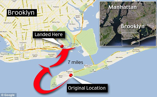 Journey: This illustration shows how the bar was swept out into the water from its original location in Breezy Point before being washed up at Gerritsen Beach, Brooklyn. Witnesses said it was travelling in floodwater up to six feet deep
