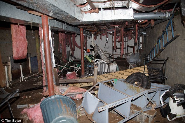 The basement of the house where  father and sonwere drowned when the storm hit