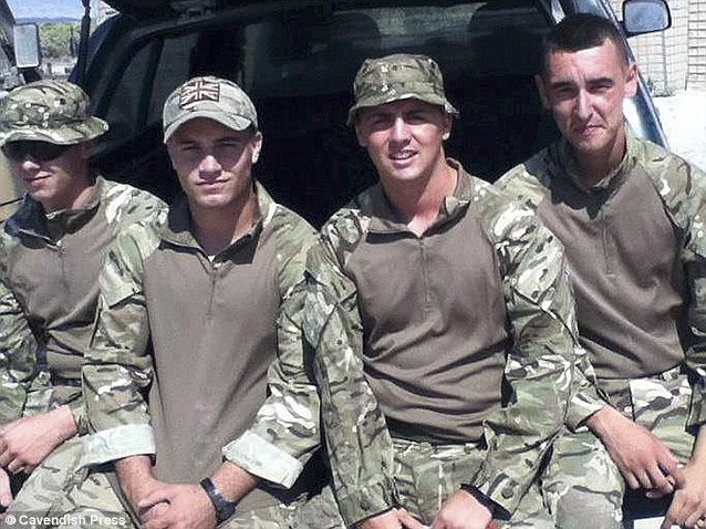 Killed while off-duty: Tributes have been paid to Mr Collins, second left, on Twitter and a Facebook page has been set up in his memory