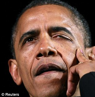 Emotional: Barack Obama was caught tearing up at his final rally in Iowa on Monday night