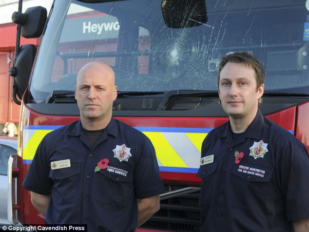 Nasty trick: Paul O'Malley (right) and Mark Lee, from Heywood Fire Station in Oldham, were in the vehicle when it was attacked in Rochdale