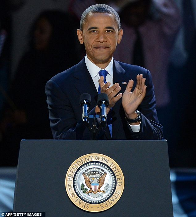 Pretty pleased: Obama gave a rousing speech thanking supporters and encouraging Americans not to give up on their hope for a better future
